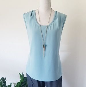 St. John Blue Shell Sleeveless Tank Blouse 14